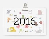 PDF printable Calendar 2016 - cute animal illustrations