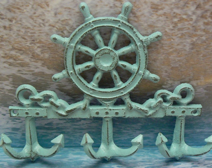 Cast Iron Ships Steering Wheel Helm Anchor 3 Wall Hook Blue Shabby Chic Cottage Chic Beach Nautical Home Decor