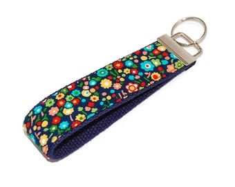 Flower Blooms on Navy Fabric Key Chain Key Fob