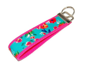 Aqua and Pink Flowers Keychain Fabric Key Fob