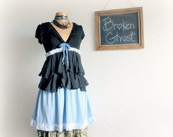 Frilly Summer Dress Black Ruffles Upcycled Clothing Eco Friendly Boho Women's Dress Shabby Clothes Romantic Sundress Prairie Dress M 'FLEUR'