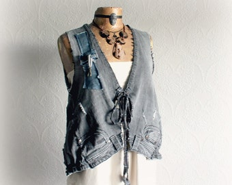 Funky Denim Vest Grey Recycled Jeans Reconstructed Shirt Rip Fray Tattered Grunge Clothes Women's Unique Top Cargo Clothing M L 'BELINDA'