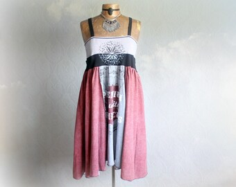 Chic Upcycled Dress Strappy Sundress Boho Women's Wear Summer Festival Loose Fitting Empire Waist Recycled T-Shirt Bohemian Dress L 'ALYSSA'