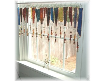 Art Glass with Class NUMBER ONE  Stained Glass Window Treatment Valance Curtain