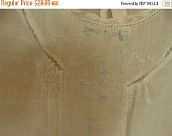 BIG SALE Antique Heirloom Handmade Embroidered White Cotton Baby Girl Dress
