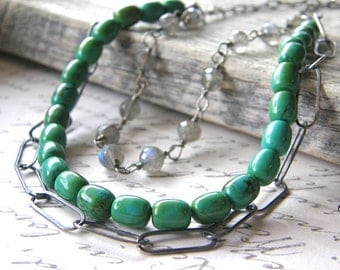 Multi-Strand Green Turquoise, Labradorite and Sterling Silver Chain Necklace, Layered Necklace