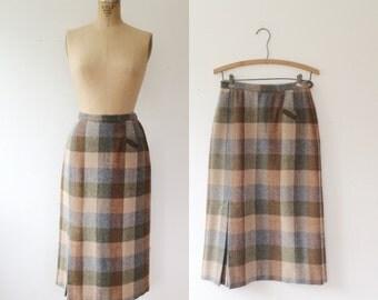 plaid wool skirt /vintage plaid skirt /Summit wool skirt