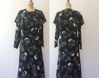 1920s dress / vintage silk dress / Lines of Flower dress