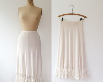 vintage knit skirt / vintage lace skirt / White Shoals skirt