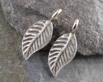 Hill Tribe Fine Silver Pretty Little Leaf Charm - Fine Silver Leaf - Thai Silver Leaf - Hill Tribe Leaf - htfspllc