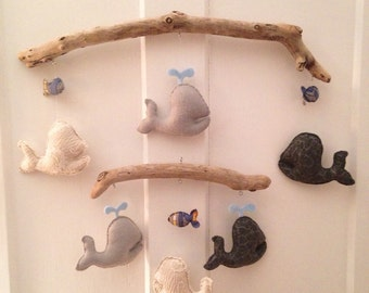 Driftwood Baby Mobile w/ Hand Sewn Whales & Fish