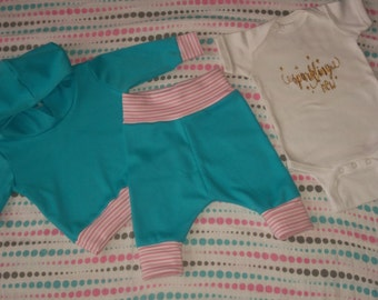 Sized Newborn to 6 MO Grow With Me Harem Pants and White Sparkling New Onesie with Matching Hoodie and Swaddling Blanket