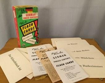 German Flash Cards Vintage Language Learning Games Word Phrase Cards 1960