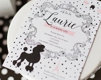Paris Invite, Paris Invitation, Black and White Paris Birthday, Paris Poodle Birthday, Parisian Birthday, Paris Theme
