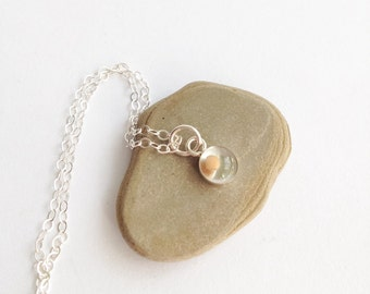 tiny mustard seed charm  - super tiny sterling silver mustard seed necklace - mustard seed faith jewelry
