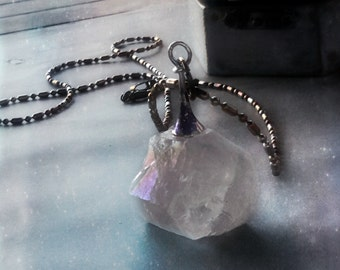 Crystal quartz necklace chunky pendant titanium with handpainted gift box free shipping