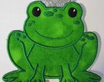 Frog Prince - Iron On or Sew On Embroidered Custom Made Applique