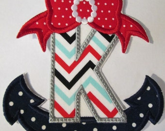 Anchors Ahoy Alphabet - Iron On or Sew On Embroidered Custom made Applique