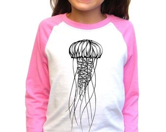 Girls Baseball Tee  - Jellyfish  Design - Available in S, M, L, XL - 5yo, 6yo, 7yo, 8yo, 9yo, 10, yo, 11yo, 12yo
