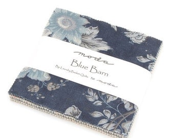SALE Blue Barn Prints Charm Pack Fabric - Laundry Basket Quilts - Moda