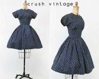 40s Dress Polka Dot XS / 1940s Vintage Dress Taffeta / Over The Moon Dress