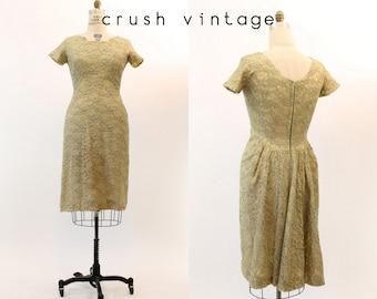 50s Dress Lace Large / 1950s Vintage Wiggle Beaded Dress / Soft Chartreuse Dress