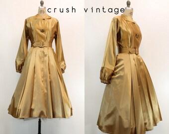 40s Dress Liquid Satin Medium / 1940s Vintage Dress Stripe Shirtwaist / Golden Girl Dress