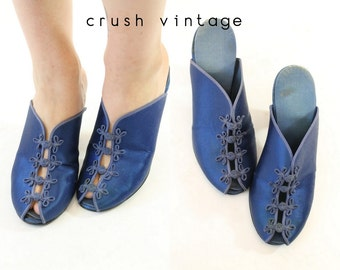 1940s Shoes Daniel Green 5 / 40s Vintage Shoes Peep Toe Mules Sandals  / Cinderella Slippers
