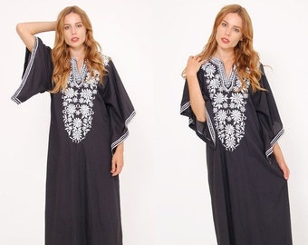 FALL SALE Vintage 70s EMBROIDERED Caftan Black & White Floral Maxi Dress Bell Sleeve Dress Boho Hippie Dress