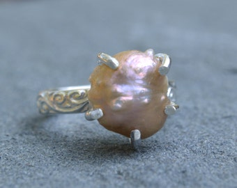 Baroque Pearl Claw Ring Sterling Silver Size 6 1/2
