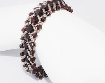 Garnet Xilion Swarovski Crystal Flat Stitch Seed Bead Bracelet