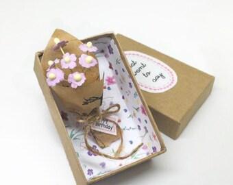 Happy Birthday/ Message Box/ Birthday Card / Tiny Flower Bouquet/ Dollhouse Flower Bouquet