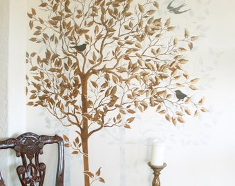 Wall Stencil, Large Tree Stencil, FREE birds stencil, Wall Stencils,Decorative Stencil, Stencil Pattern, Wall Decor