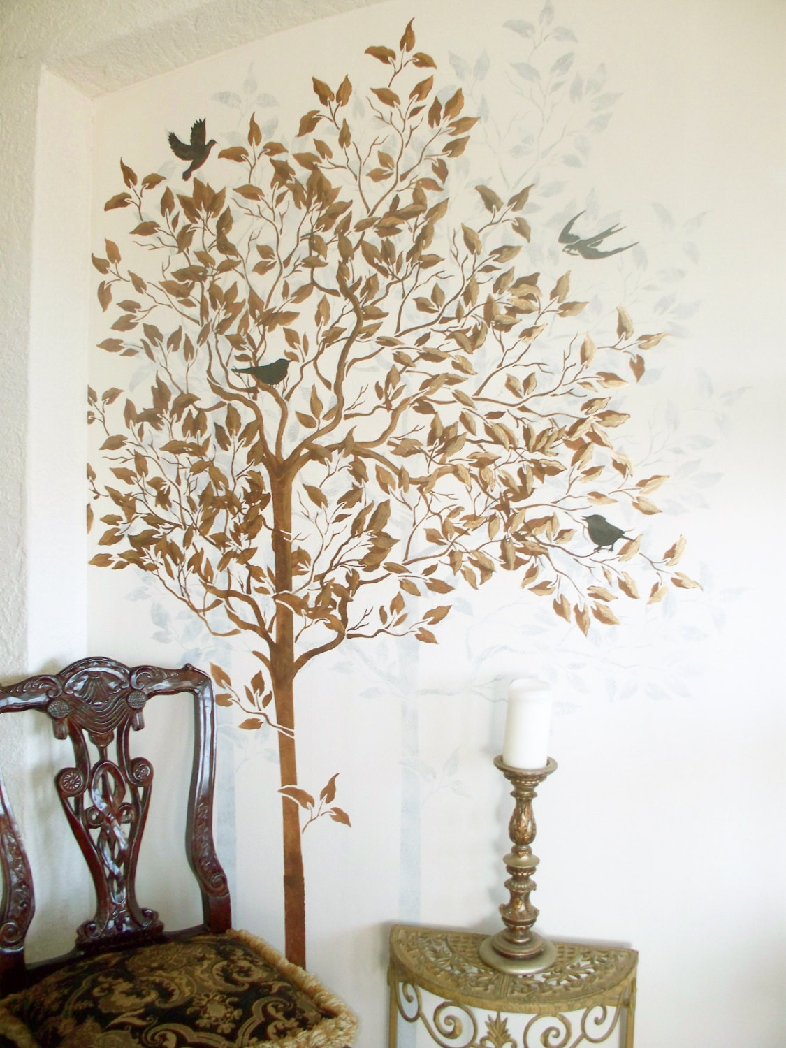 Wall stencil large tree stencil free birds stencil wall for Large tree template for wall