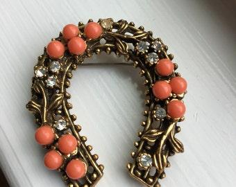 Vintage Victorian Look Coral Bead and Rhinestone Horseshoe Brooch Pin