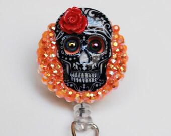 Sugar Skull ID Badge Reel - Retractable ID Badge Holder - Zipperedheart