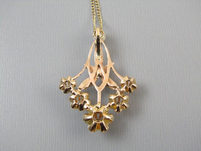 Antique Edwardian 14k gold diamond pearl lavalier pendant necklace