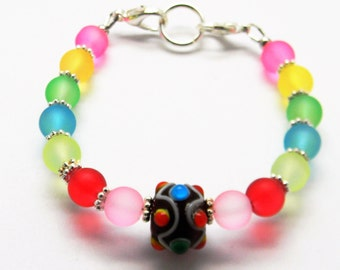 Beaded Medical ID Alert Tag Replacement Bracelet Strand Interchangeable COLORFUL DOTS for your Medical id Tag or PlateFREE Ship