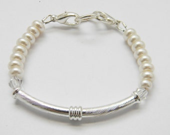 PEARLS and SILVER Tube Beaded Medical ID Tag Medic Alert Replacement Bracelet Strand for your Medical tag, Charm or Watch Face