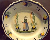 Antique Quimper Pottery Plate  with scalloped edge