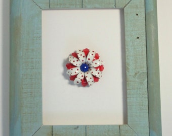Mid century Red, White and Blue Enameled Flower Brooch/Pin.