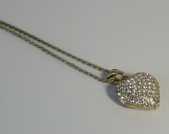 Gold tone  with Pavé Rhinestones Heart Necklace.