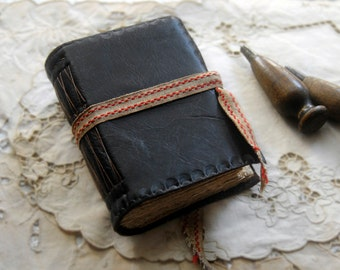 Collections - Rustic Leather Journal, Dark Brown, Aged Paper, OOAK