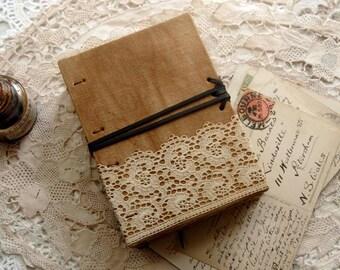 Linen & Lace - Vintage Linen Journal, Vintage Lace, Tea Stained Pages, OOAK