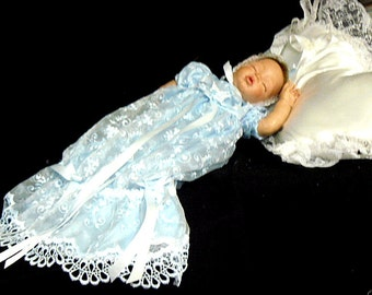 Mermaid GOWN for REBORN or BABY Victorian Blue Embroidered Organza  size 0-3 month