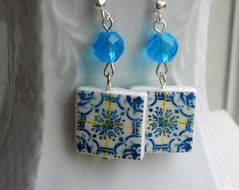 Portugal  Antique Azulejo Tile Replica Earrings, Light  Blue Aveiro - waterproof and reversible 752