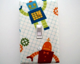 Robot Light Switch Cover - Robots Switch Plate - Boys Bedroom