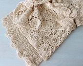 Vintage Ecru Cream Cotton Crochet Coverlet  Bedspread / Vintage Bedding / Twin Size Bedding
