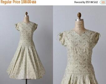 SALE 1950s Vintage Dresses / 50s Dress / Full Skirt / Metallic Shimmer