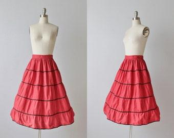 Red Mexican Circle Skirt / Red Full Skirt / 1950s Patio Skirt / 50s Skirt